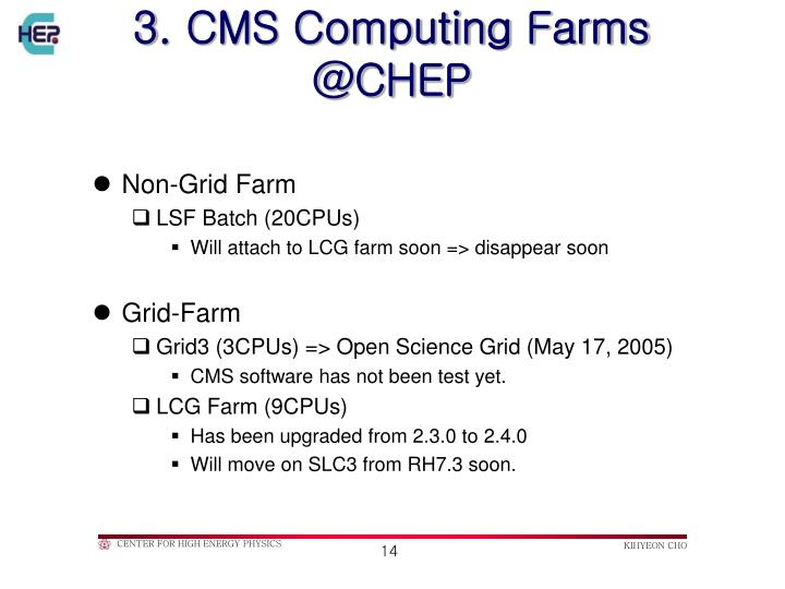 3. CMS Computing Farms @CHEP