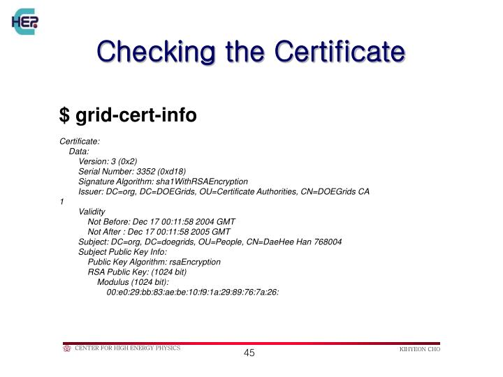 Checking the Certificate