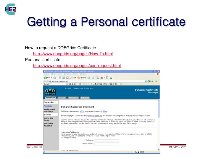 Getting a Personal certificate