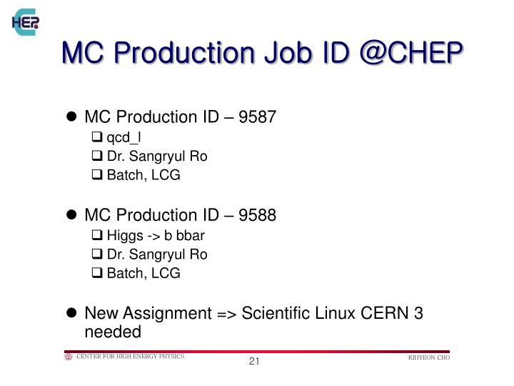 MC Production Job ID @CHEP