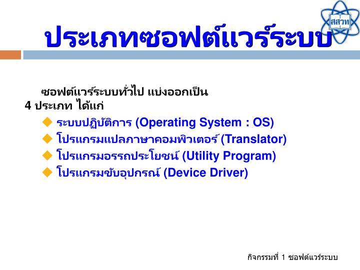 ประเภทซอฟต์แวร์ระบบ