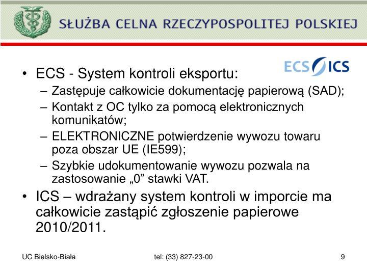 ECS - System kontroli eksportu: