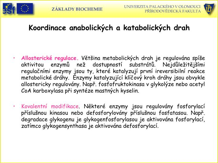 Koordinace anabolickch a katabolickch drah