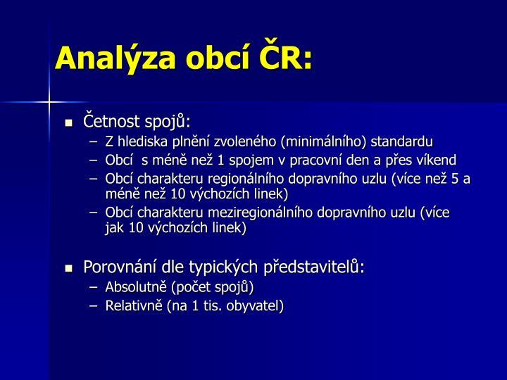 Analýza obcí ČR: