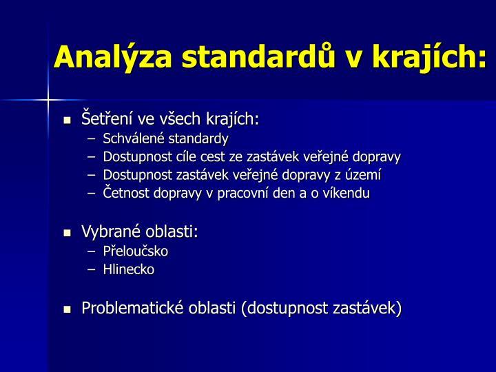 Analýza standardů v krajích: