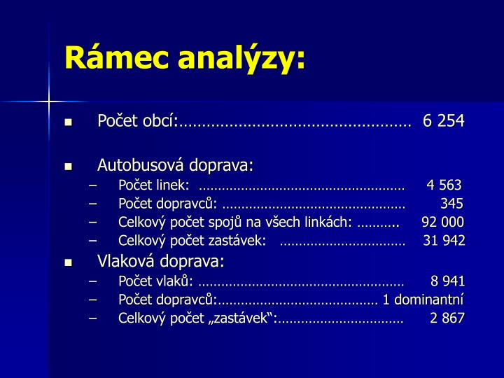 Rámec analýzy: