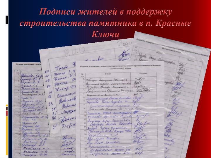 Подписи жителей в поддержку строительства памятника в п. Красные Ключи