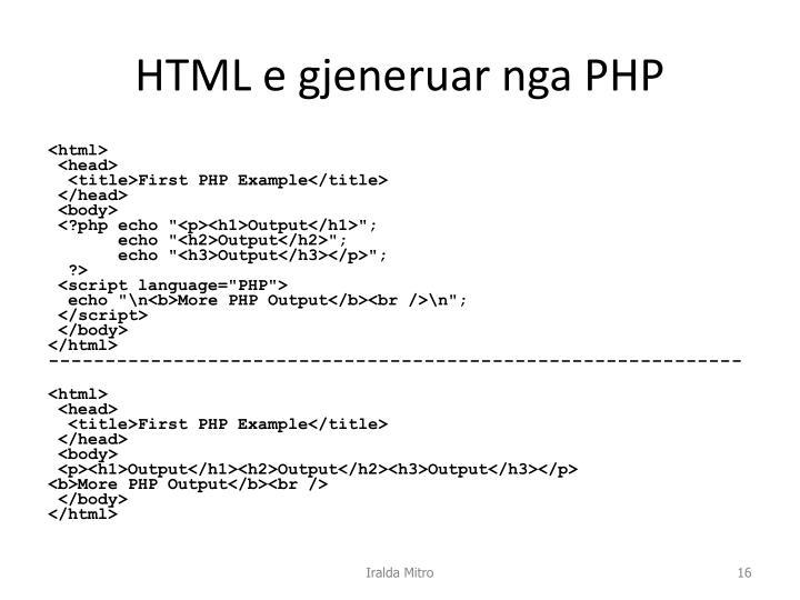 HTML e gjeneruar nga PHP