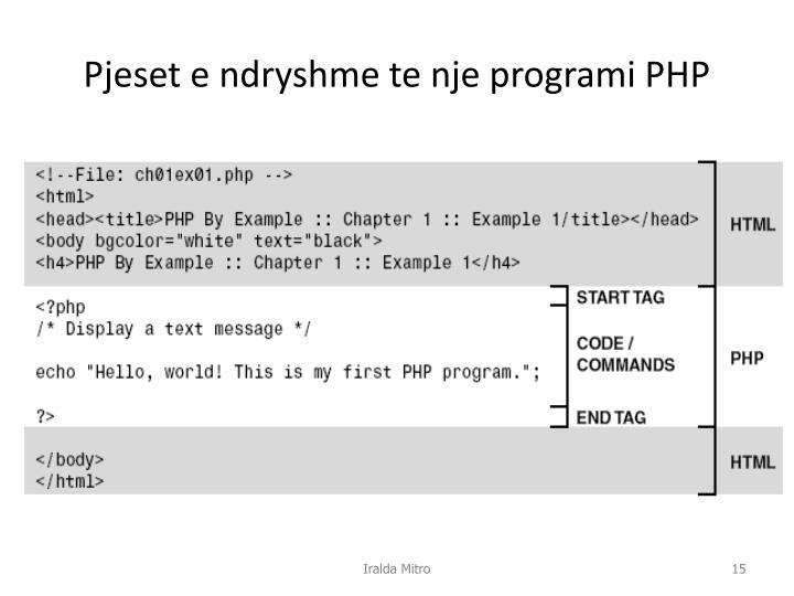 Pjeset e ndryshme te nje programi PHP
