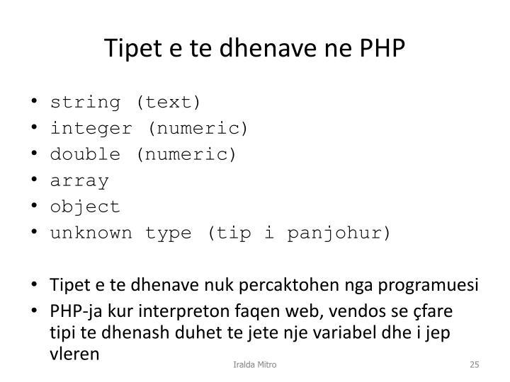 Tipet e te dhenave ne PHP