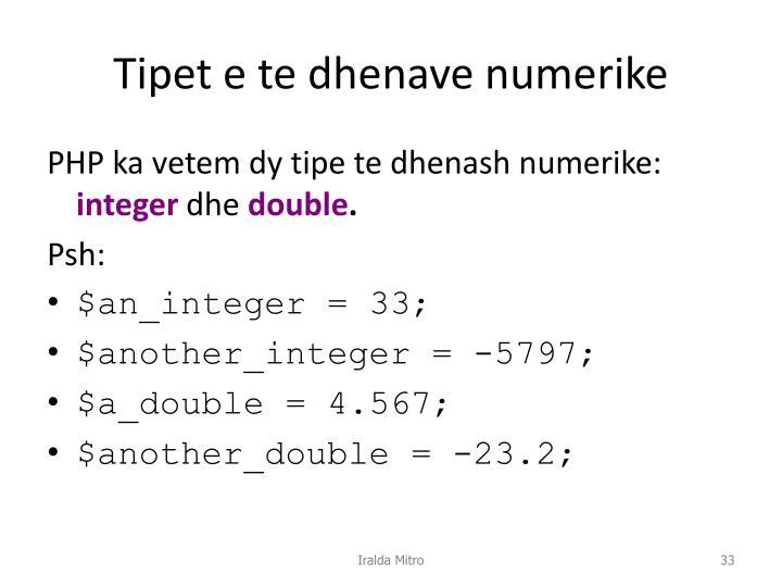 Tipet e te dhenave numerike