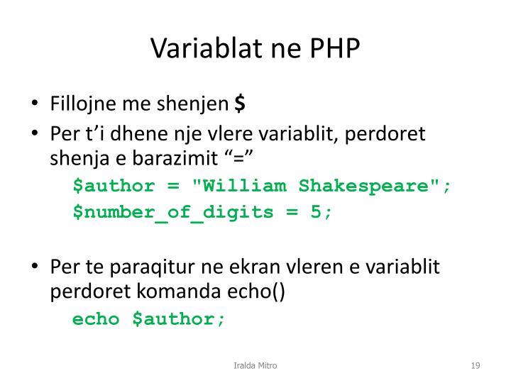 Variablat ne PHP