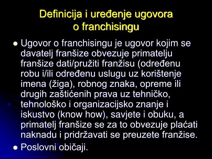 Definicija i uređenje ugovora