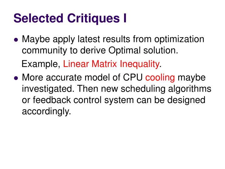 Selected Critiques I