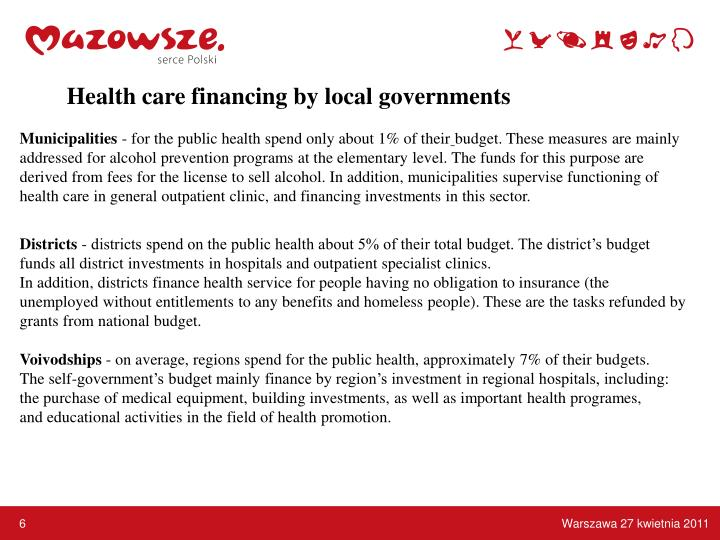 Health care financing by local governments