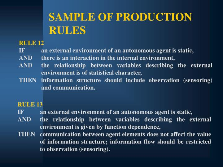 SAMPLE OF PRODUCTION RULES