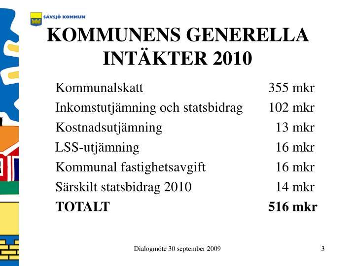 KOMMUNENS GENERELLA INTÄKTER 2010