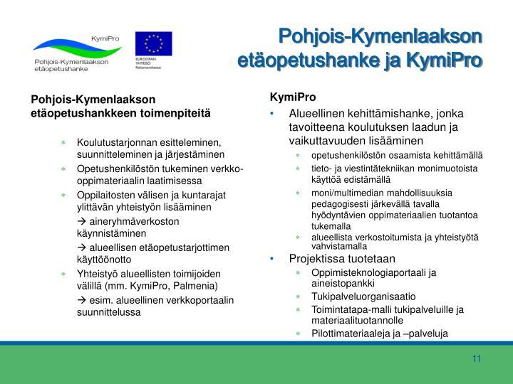 Pohjois-Kymenlaakson etäopetushankkeen toimenpiteitä