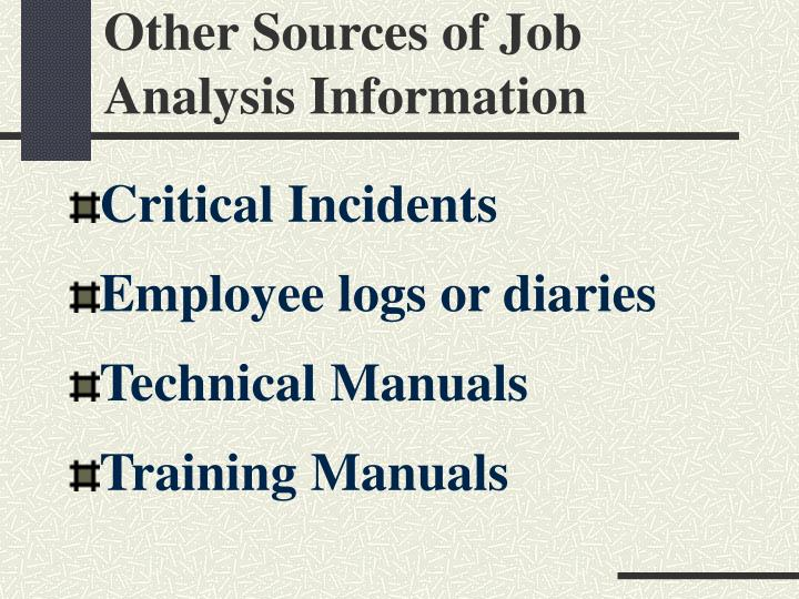 Other Sources of Job Analysis Information