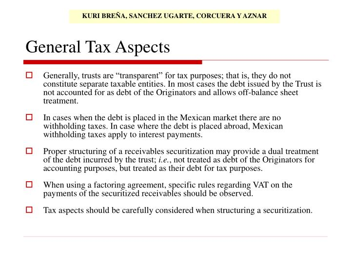 General Tax Aspects