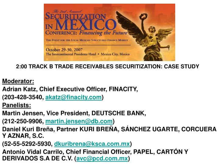 2:00 TRACK B TRADE RECEIVABLES SECURITIZATION: CASE STUDY