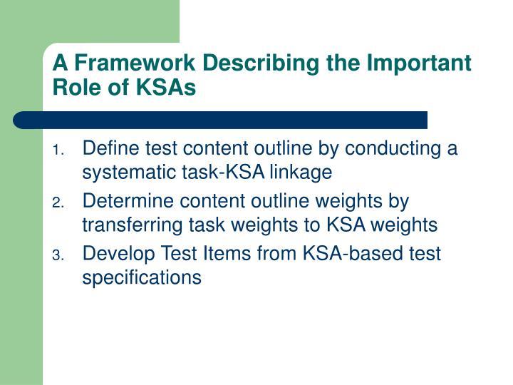 A Framework Describing the Important Role of KSAs
