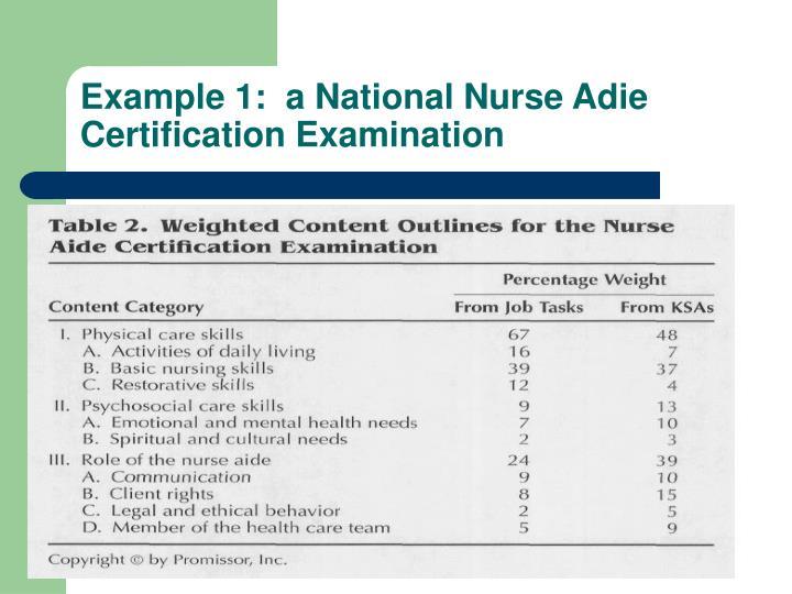 Example 1:  a National Nurse Adie Certification Examination
