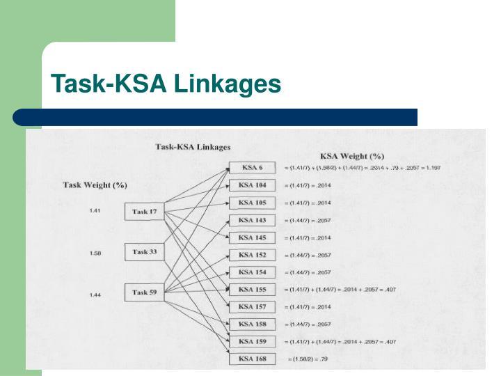 Task-KSA Linkages