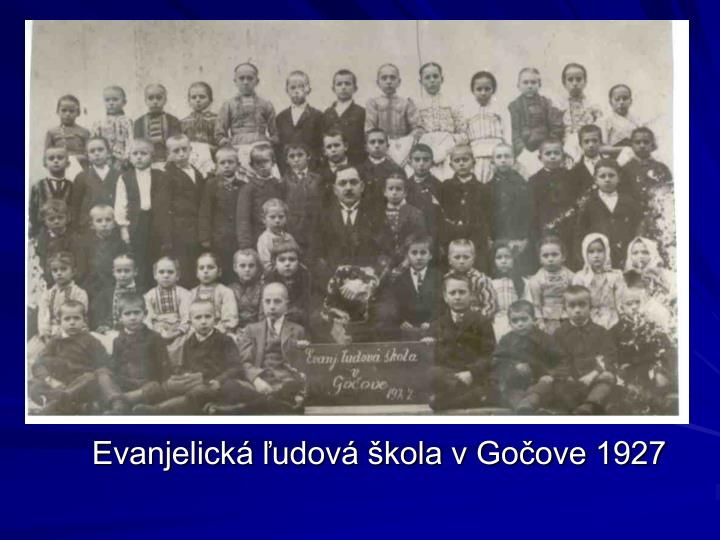 Evanjelická ľudová škola v Gočove 1927