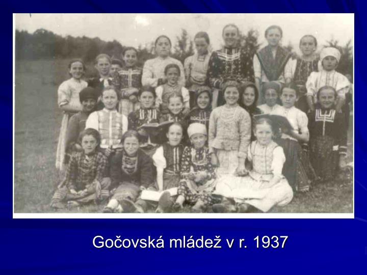 Gočovská mládež v r. 1937