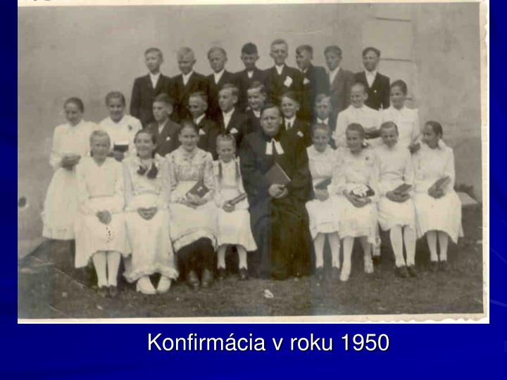 Konfirmácia v roku 1950