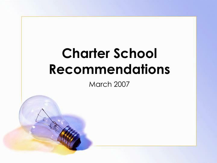 Charter school recommendations