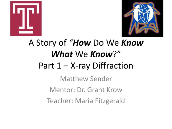 A story of how do we k now what w e k now part 1 x ray diffraction