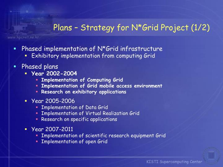 Plans – Strategy for N*Grid Project (1/2)