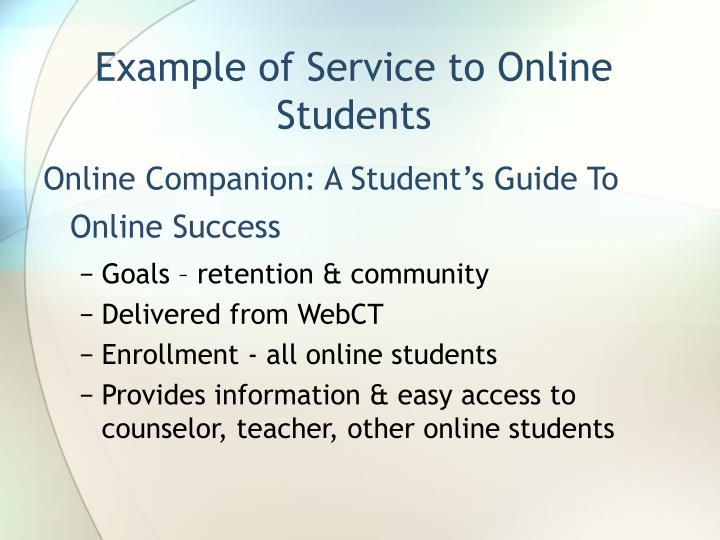 Example of Service to Online Students