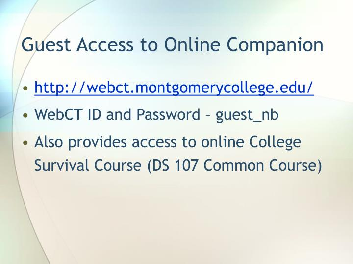 Guest Access to Online Companion