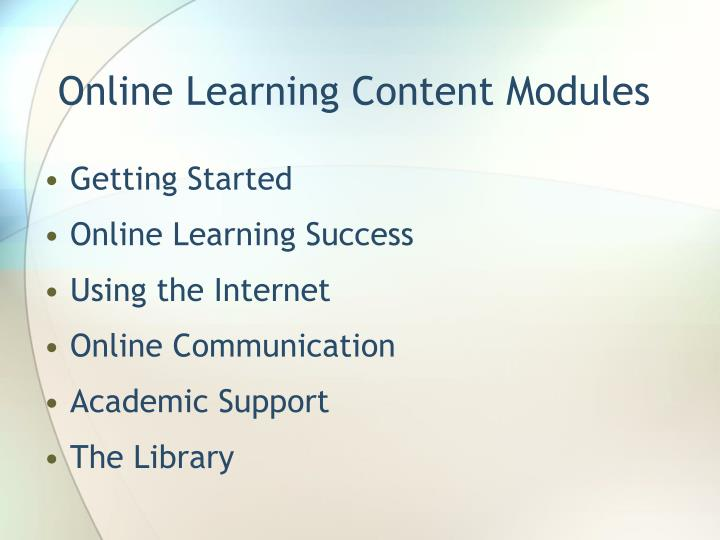 Online Learning Content Modules