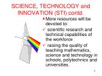 science technology and innovation sti contd