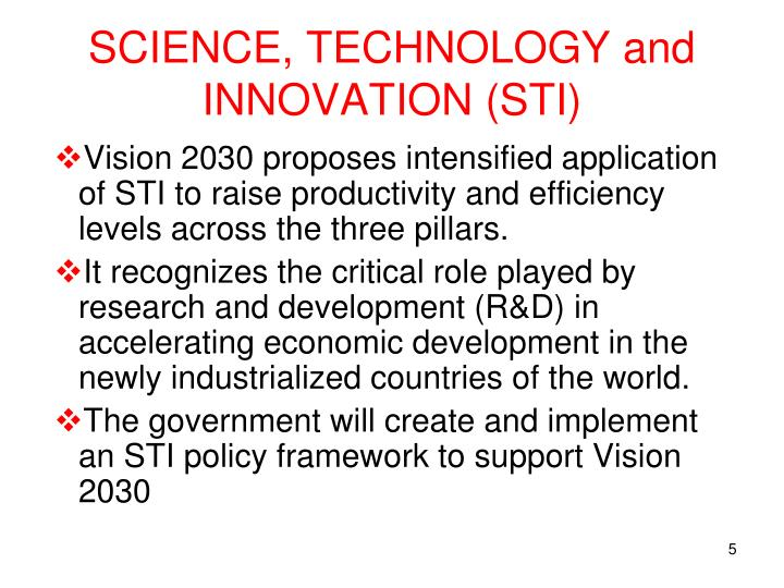 SCIENCE, TECHNOLOGY and INNOVATION (STI)