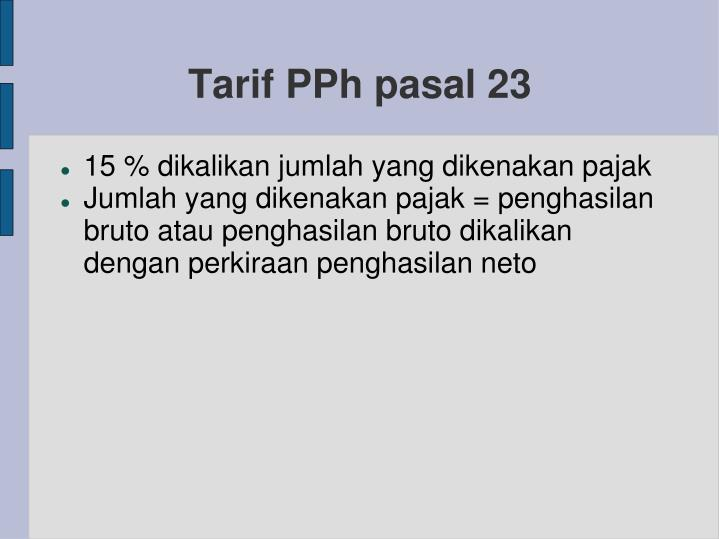 Tarif PPh pasal 23