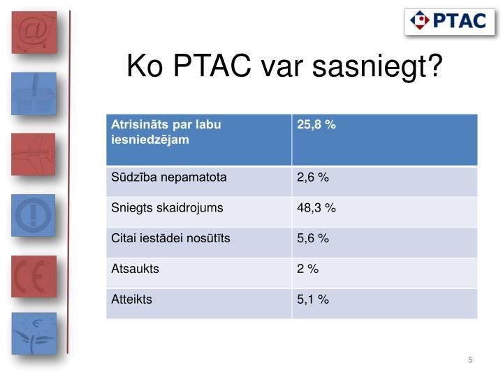 Ko PTAC var sasniegt?