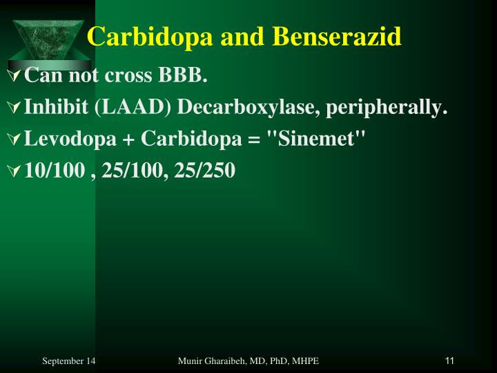 Carbidopa and Benserazid