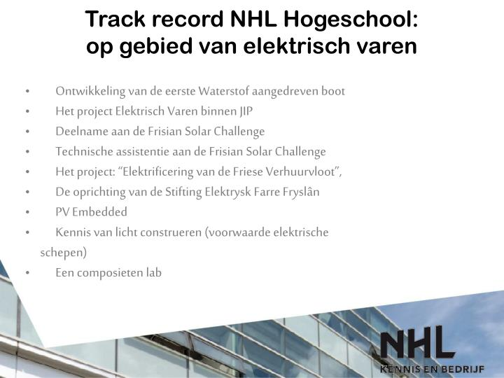 Track record NHL Hogeschool: