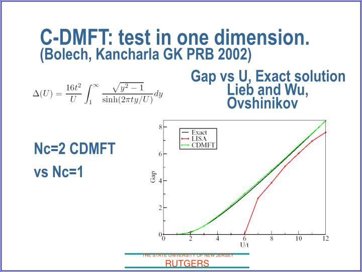 C-DMFT: test in one dimension.