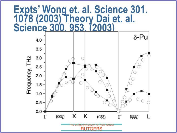 Expts' Wong et. al. Science 301. 1078 (2003) Theory Dai et. al. Science 300, 953, (2003)