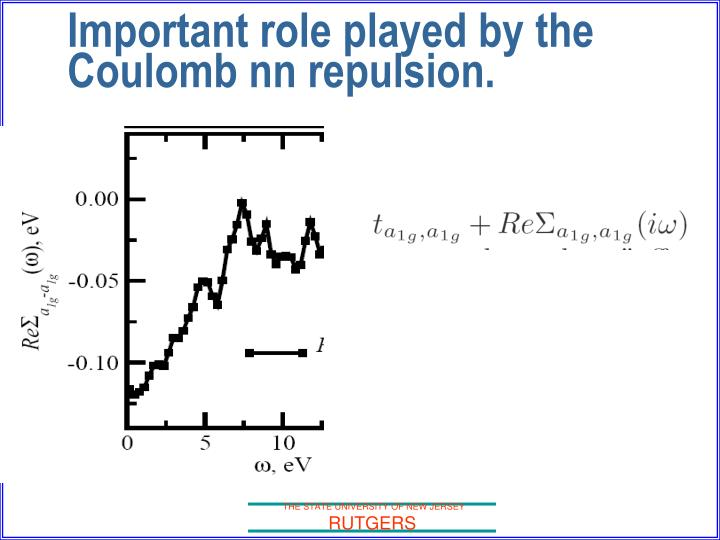 Important role played by the Coulomb nn repulsion.