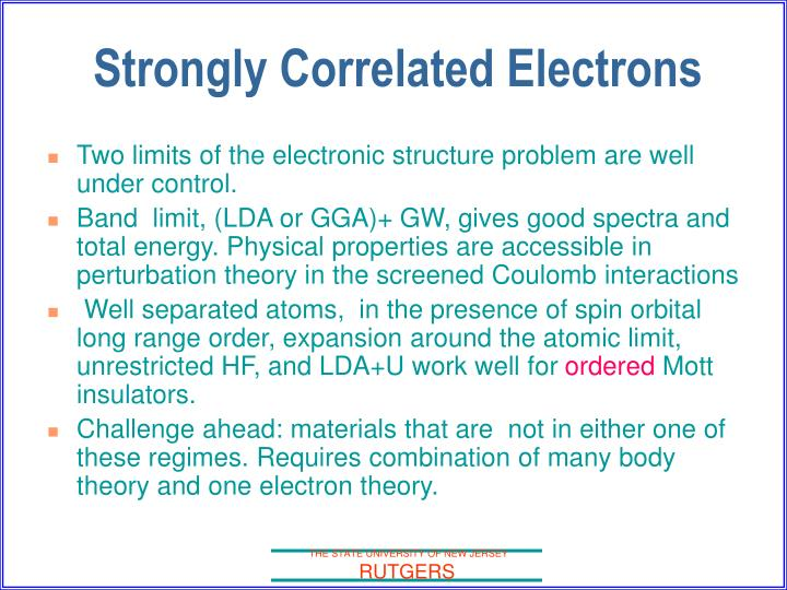 Strongly correlated electrons