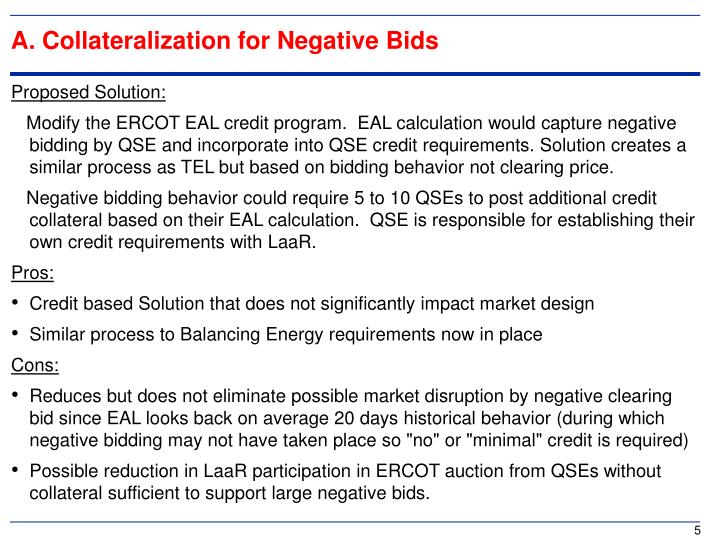 A. Collateralization for Negative Bids