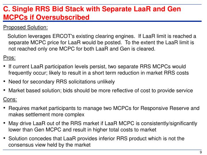 C. Single RRS Bid Stack with Separate LaaR and Gen MCPCs if Oversubscribed