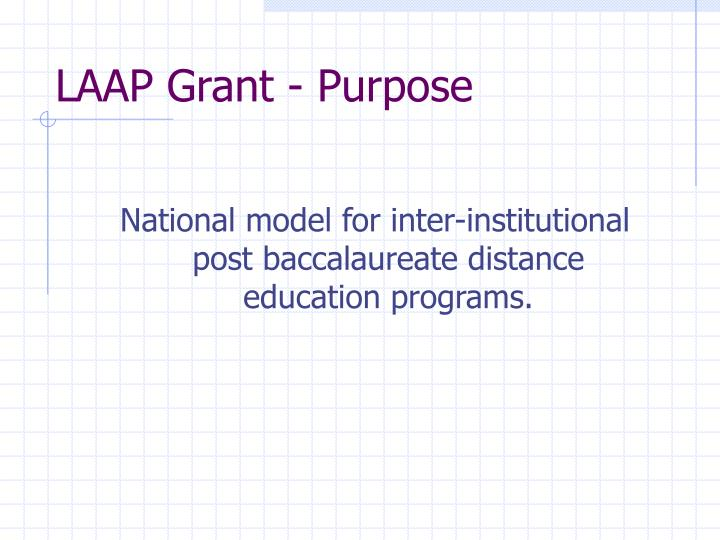 National model for inter-institutional post baccalaureate distance education programs.